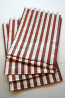Traditional Sweet Shop Candy Stripe Paper Bag - Brown Stripes