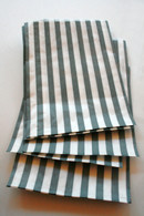 Traditional Sweet Shop Candy Stripe Paper Bag - Grey Stripes
