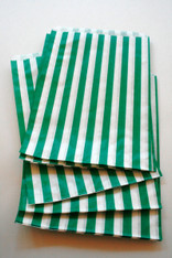 Traditional Sweet Shop Candy Stripe Paper Bag - Green Stripes