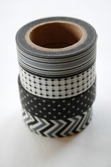 Washi Tape - 15mm - Combination L - Black and Grey - Four Rolls -No. 122, 142, 171, 202