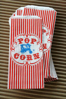 Popcorn Bags - Vintage Style Red and White Stripes - Gusseted 3 1/2 x 2 1/4 x 7 3/4 Inches