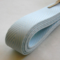 Chevron Twill Herringbone Ribbon - Baby Blue and White 3/4 Inch Width