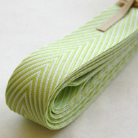 Chevron Twill Herringbone Ribbon - Lime Green and White 3/4 Inch Width