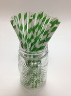 Grass Green Striped Paper Drinking Straws - made in USA