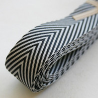 Chevron Twill Herringbone Ribbon - Black and White 3/4 Inch Width