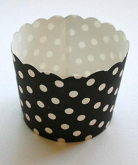 Black and White Polka Dot Nut or Portion Paper Cups with Scalloped Tops
