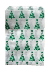 Holiday Green Christmas Tree Pattern White Kraft Merchandise Paper Bags - 5 x 7