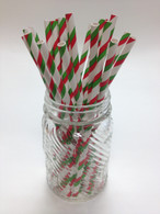 Christmas Green and Red Paper Drinking Straws - made in USA