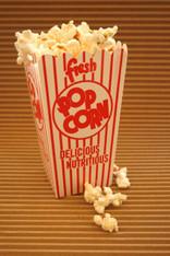 Scoop Popcorn Boxes - Scalloped Tops - Retro Design Red White