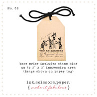 Customized Red Rubber Wood Stamp - Vintage Circus