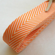 Chevron Twill Herringbone Ribbon - Orange and White 3/4 Inch Width
