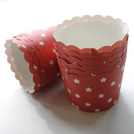 Red Stars Nut or Portion Paper Cups with Scalloped Tops - Red White Stars