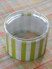 Favor or Storage Boxes with Clear Lids and Bottoms - Plastic - Lime Green Striped