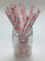 Blossom Pink Heart Paper Drinking Straws - made in USA