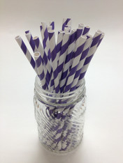 Purple Stripe Paper Drinking Straws - made in USA