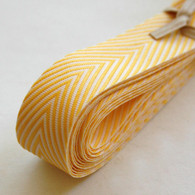 Chevron Twill Herringbone Ribbon - Yellow and White 3/4 Inch Width