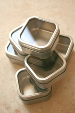 Square Window Tins - 2.5 x 2.5 x 1.5 - 4 Ounces Capacity