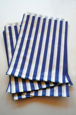 Traditional Sweet Shop Candy Stripe Paper Bag - Blue Stripes