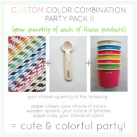 Ice Cream Party Packs - 16 Ounce Cups - Paper Straws - Wooden Message Spoons