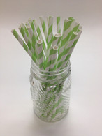 Lime - Light Green Stripe Paper Drinking Straws - made in USA