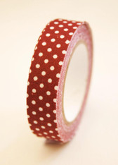 Fabric Deco Tape Maroon and White Dots - F78