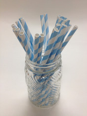 Baby Blue Stripe Paper Drinking Straws - made in USA