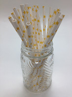 Yellow Stars Paper Drinking Straws - made in USA
