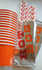Party Pack - Foil Hot Dog Bags - Paper Straws - Large Paper Cups and Spoons