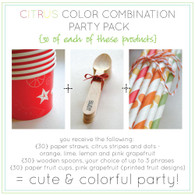 Citrus Party Pack - Fruit Print Ice Cream Cups, Paper Straws and Stamped Spoons