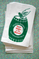 Vintage Style Green Print Large PIckle Barrel Bags - White with Green and Red - Gusseted Bags 6 x 9 Inches