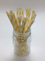 Lemon Yellow Dots Paper Drinking Straws - made in USA