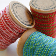 Three Color Striped Stitched Ribbon Set - 30 Yards Total on Wooden Spool - 5mm 3/16 Inch Width