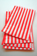 Traditional Sweet Shop Candy Stripe Paper Bag - Red Stripes