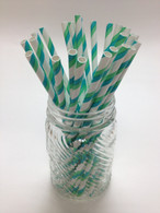 Aqua and Green Stripe Paper Drinking Straws - made in USA