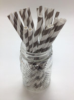 Elephant Grey Striped Paper Drinking Straws - made in USA