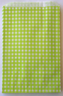Lime Gingham Flat Paper Merchandise Bags - 12 x 15 Inches