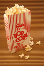 Scoop Popcorn Boxes - Closed Tops - Retro Design Red White