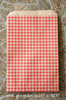 Merchandise Bags - Flat Paper - RedGingham - 6.25 x 9.25 Inches