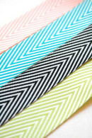 Chevron Twill Herringbone Ribbon Variety Set - Lime Aqua Pink Black - 3/4 Inch