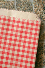 Combo 75 Pack in Three Sizes - Brown Kraft - Red Gingham Pattern - Holiday Paper Merchandise Bags - 12 x 15, 8.5 x 11 and 6.25 x 9.25