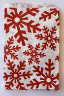 White Kraft - Red Snowflake Pattern -Paper Merchandise Bags - 12 x 15 Inches