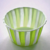 Striped Nut or Portion Paper Cups - Lime