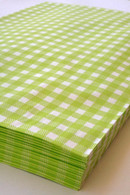 Merchandise Bags - Flat Paper - Lime Gingham 6.25 x 9.25 Inches