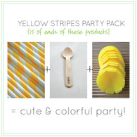 Party Pack - Yellow Tulip Ice Cream Cups - Yellow Straws - Stamped Wooden Spoons