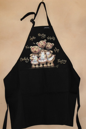 I love this apron...one size fits all, black.  Adjustable neck strap.  Comes unpainted of course.  ;)