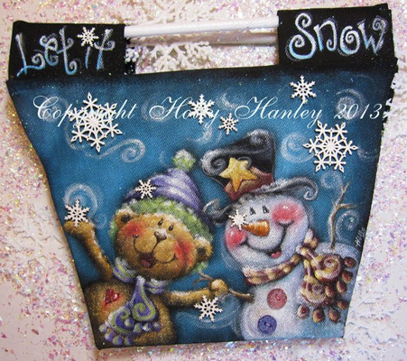 Let it Snow Canvas Bag.  Painted with DecoArt So Soft Fabric Paints.