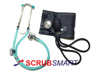 EMI Clear Green Sprague Rappaport Stethoscope & Adult Blood Pressure Aneroid Sphygmomanometer Cuff kit Set # 340