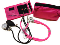 EMI ALL Pink Sprague Rappaport Stethoscope & Pink Aneroid Shpygmomanometer Blood Pressure Set EBS-330