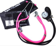 Hot Pink Sprague Stethoscope & Black Aneroid Sphymomanometer Blood Pressure Monitor Set Kit #340
