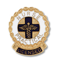 Licensed Practical Nurse (LPN) LICENSED round Emblem Pin